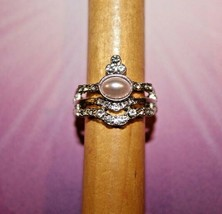 Timeless Tiaras - Pink Pearl Clelarn Rhinestone - Silver Stretch Ring - New - $7.82