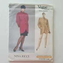 Vogue Paris Original 2149 Jacket Skirt Pants Sewing Pattern Nina Ricci S... - $10.88