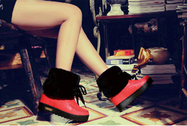 PB152 cute short snow boots, genuine leather, US Size 5-9, red - $1.329,86 MXN