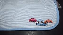 Carters Just One Year Blue cars striped Baby Bl... - $14.99