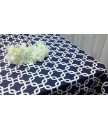 NAVY GEOMETRIC TABLECLOTH, Different Sizes,  Geometric, Modern, Chain, C... - $67.00