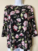 J. Jill Womens Size XS Black Floral Pattern Blouse 3/4 Sleeve Boat Neck - $14.67