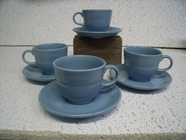 Fiesta ware Turquoise Set of 4 cups and saucers HLCollection, Vintage - $22.28