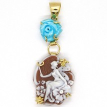 YELLOW GOLD PENDANT 18K 750, CAMEO CAMEO, FAIRY, FLOWERS, PINK TURQUOISE image 2