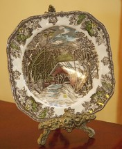 "JOHNSON BROS FRIENDLY VILLAGE THE COVERED BRIDGE SQUARE SALAD 8"" PLATE E... - $20.99"