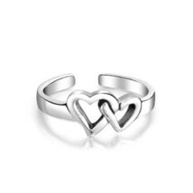 Two Heart Women's Adjustable Toe Ring 14k White Gold Plated 925 Sterling... - $9.99