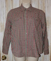 Womens Pink Brown Plaid Wrangler Long Sleeve Snap Front Shirt Size XL ex... - $7.91