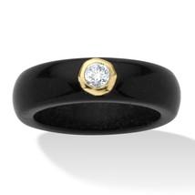 .30 TCW Genuine White Topaz and Black Jade 10k Gold Ring - $34.82