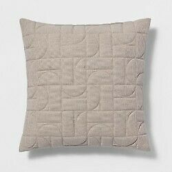 """Quilted Geo Throw Pillow - Neutral Square 18"""" x 18"""" - Project 62 - NEW with TAGS"""