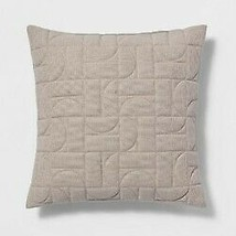 "Quilted Geo Throw Pillow - Neutral Square 18"" x 18"" - Project 62 - NEW with TAGS"