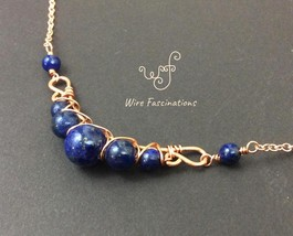Handmade lapis lazuli necklace: criss cross copper wire wrapped image 5