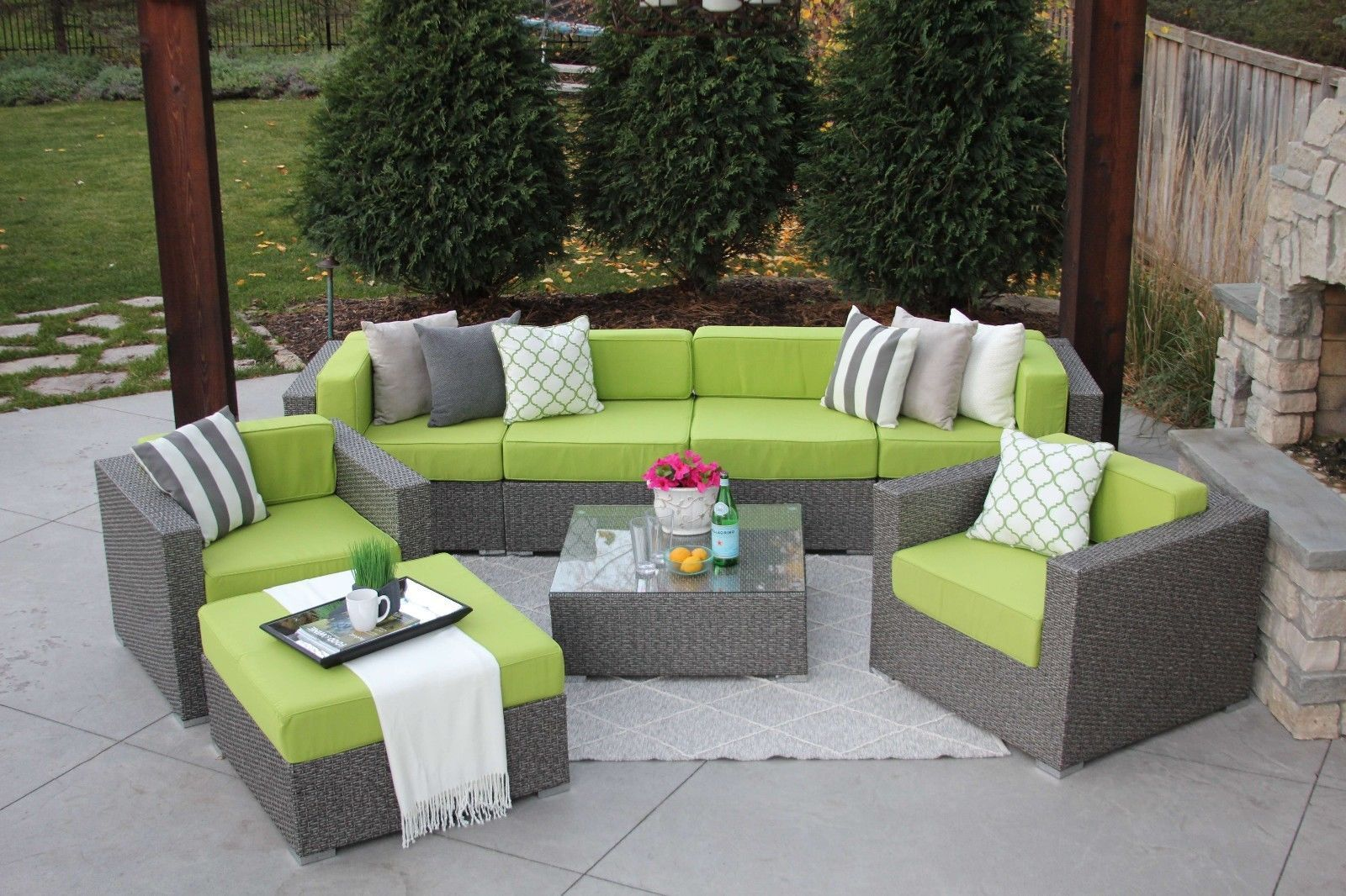 8pc gray wicker modern rattan patio set outdoor sectional. Black Bedroom Furniture Sets. Home Design Ideas