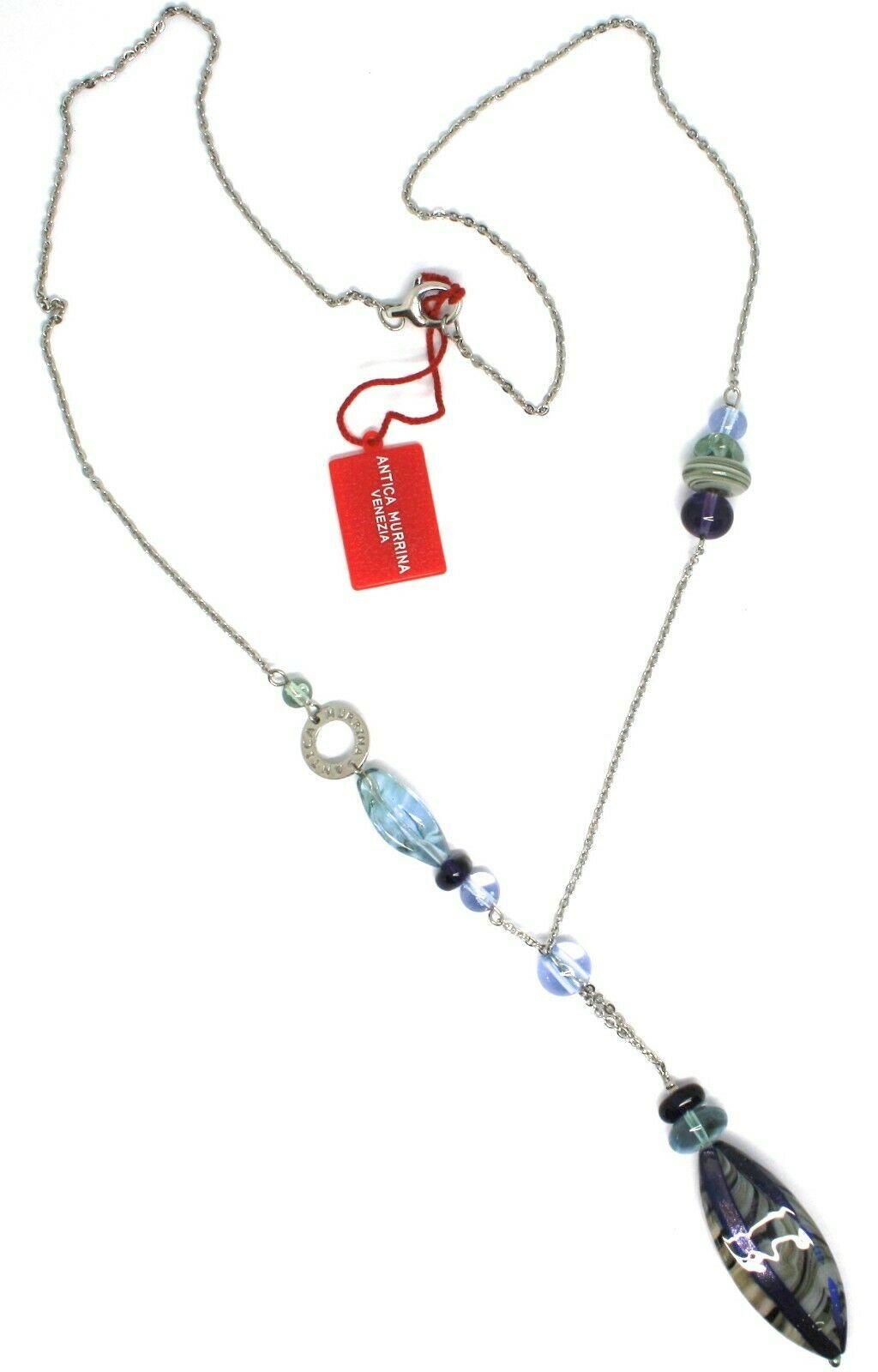 Necklace Antica Murrina Venezia, 80 cm, CO697A27, Oval Brindle Purple Pendant