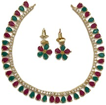 Indian Jewelry Polki, Kemp Stones Necklace Earring Set in Golden Chain.  - $29.99