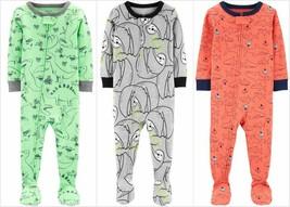 NWT Carters Sloth Sharks Dinosaurs Toddler Boys Footed Cotton Pajamas Sleeper - $9.99