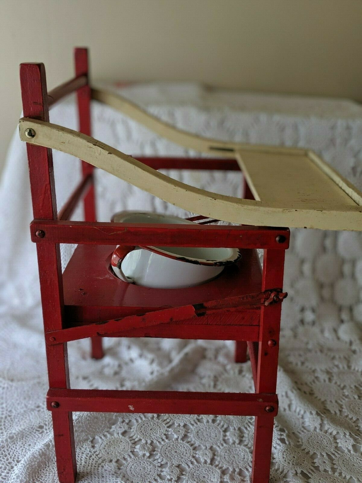 Wooden Red White Vintage Potty Chair With Chamber Pot Kids Baby image 4