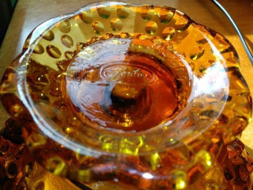 Vintage 1950s Fenton Glass Pat #3547569 Amber Glass Hobnail Candle Holder