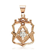 Large Masonic Charm with a Cubic Zirconia in 14K Pink, Rose Gold - $784.00