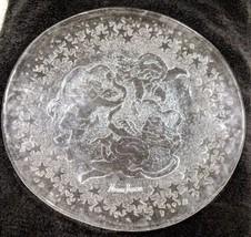 """Neiman Marcus Christmas Glass Serving Platter Cherubs 12 3/4"""" - $46.22"""