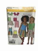 Simplicity Child 3-8 Capri Pants Tiered Skirt Shrug Top Dress Pattern 42... - $6.92