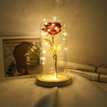 Glass Dome Light Sesame Rose Flower Lights with LED Strings , Artificial... - $39.98