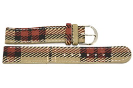 14mm Brown Plaid Print Stitched Watch Band Strap - $8.90