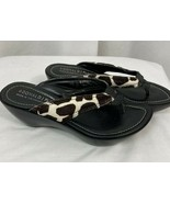Donald J Pliner Animal Print Wedge Flip Flops Size 7 1/2 M - $28.49