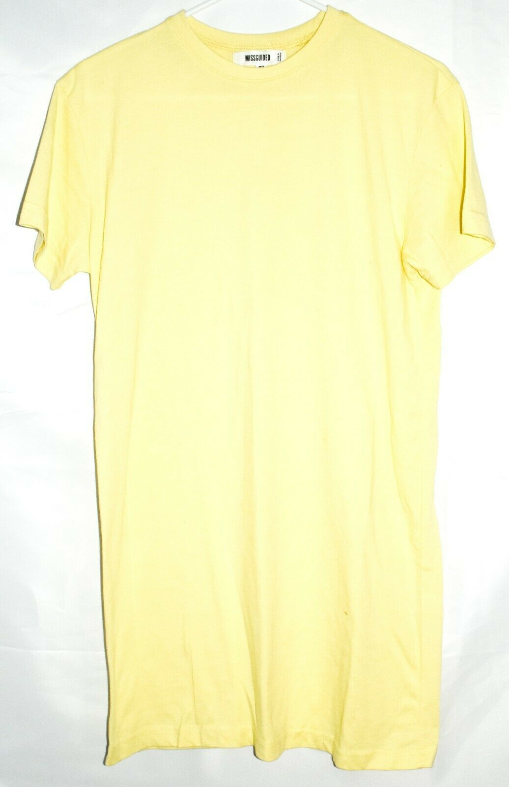 Missguided Pastel Yellow Polyester Blend Crew Neck T-Shirt Dress US 2 | UK 6