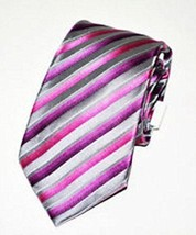 Alfani Men's Bursting Stripe Slim Neck Tie Silver/ Pink One Size - $12.86
