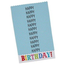 "Happy Birthday Dish Towel 100% Cotton New Chevron Pattern Tea 18"" x 28"" - $14.84"
