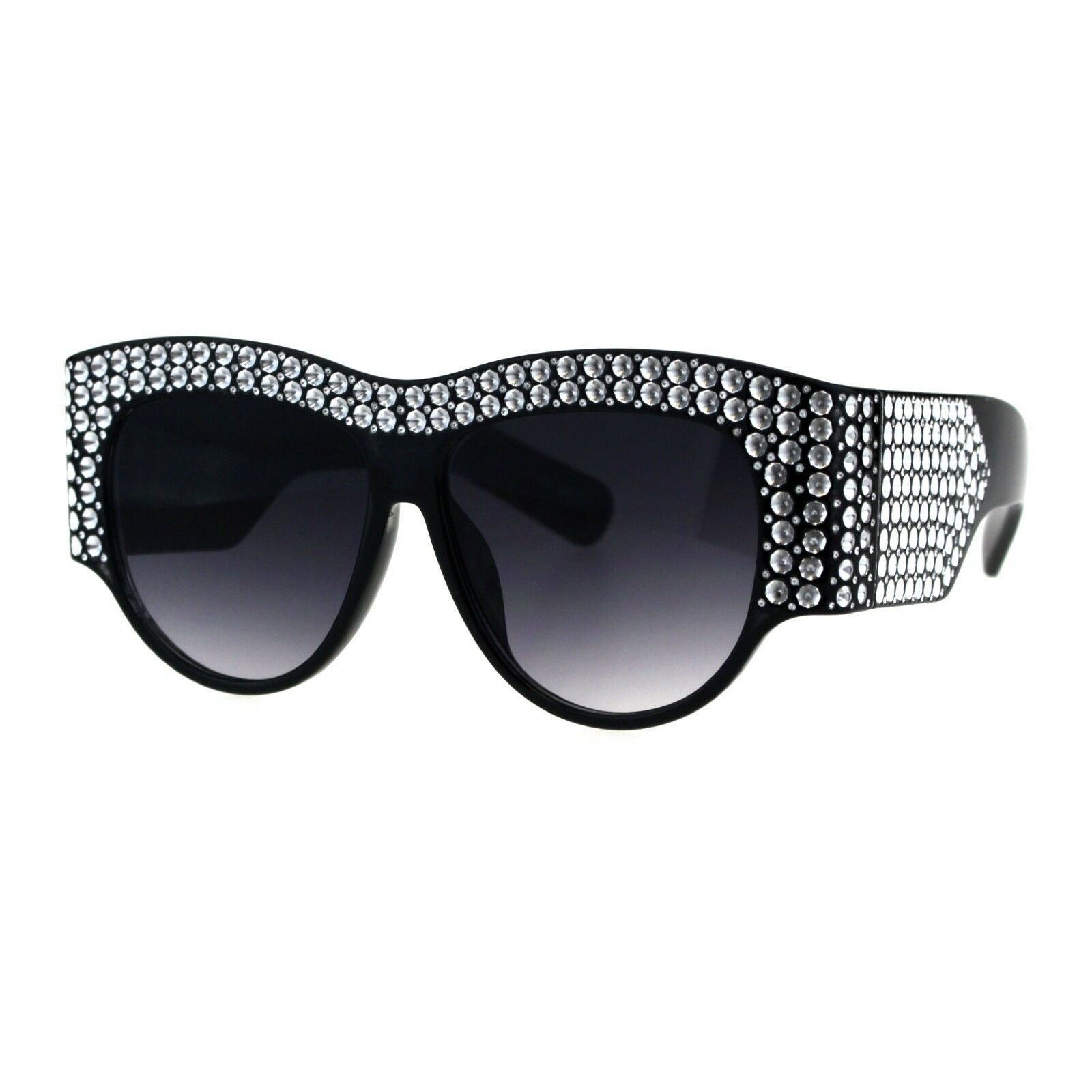 Primary image for Womens Sunglasses Bold Thick Oversized Frame Silver Bling Decor UV 400