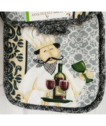 "Set of 2 Printed JUMBO Pot Holders, 7"" x 8"", FAT CHEF WITH DISH w/ blue ... - $8.90"