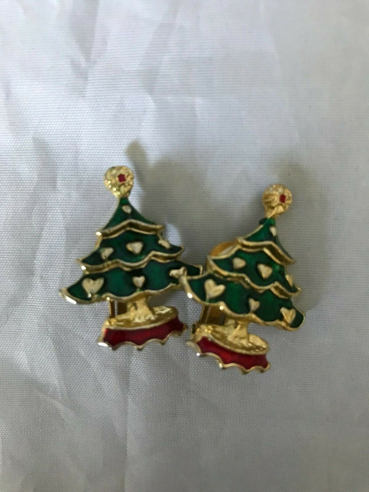 Vintage Hess's Department Store Christmas Tree Broach/Pin and Clip-on Earrings
