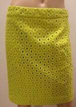 NWT J Crew Lime Green Eyelet Circles No. 2 Cotton Pencil Skirt 4 S - $104.49