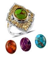 Turquoise Ring   Size 7 Blue Orange Purple Green 32.10 carats - $104.82
