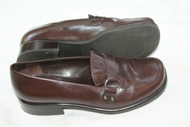 Franco Sarto Ladies Sz 7 M Brown Leather Classic Flat Loafers Shoes Bocca - $29.70
