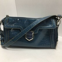 Liz Claiborne Women's Vintage Faux Shiny Blue Crocodile / Alligator Purse - $20.68