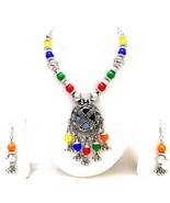 Silver Oxidized Necklace Earring Big Pendant Garba Navratri Wedding Jewe... - $8.90