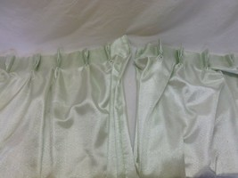 "Vtg Pinch Pleat Curtains Drapes Shiny Metallic Silver Mint Green Fabric 84"" - $24.99"