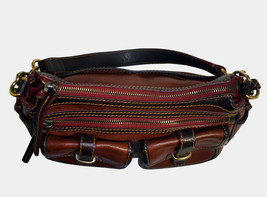 Dooney & Bourke Saddle Tan Brown Red Leather Pocket Hobo Brass Duck Charm DS455 image 8