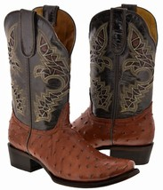 Mens Cognac Brown Square Toe Ostrich Skin Print Western Leather Cowboy B... - €120,52 EUR