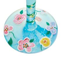 """Hope """"Designs by Lolita"""" Wine Glass 15 o.z. 9"""" Gift Boxed Blue Decorated Flowers image 4"""