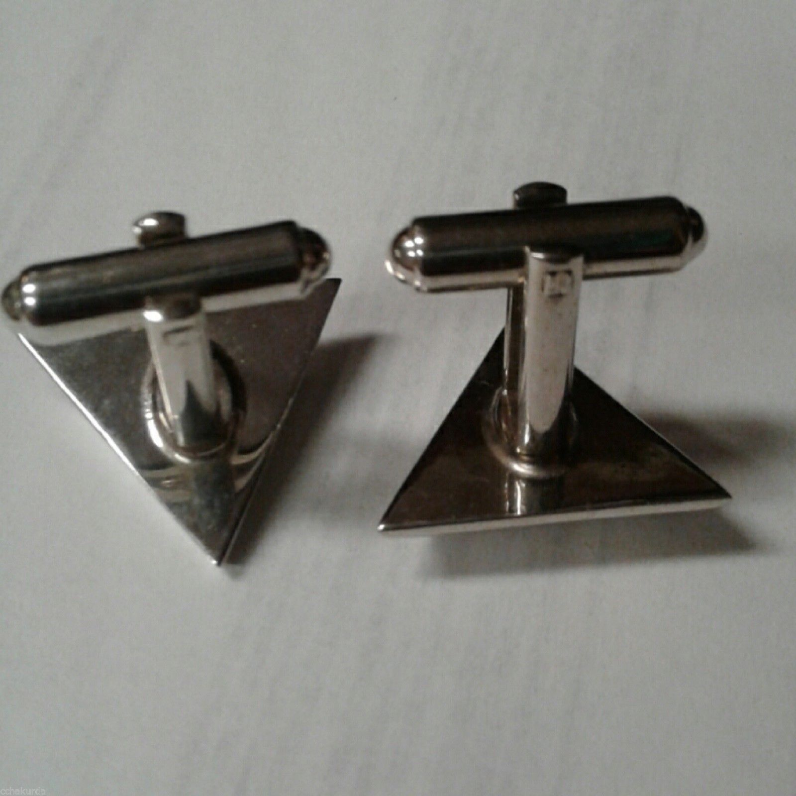 Silvertone Triangle Cufflinks Set Vtg 1960s