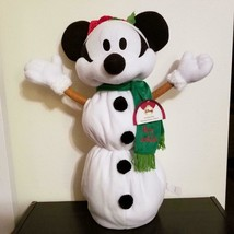 "Mickey Mouse Christmas Greeter 24"" Collapsible Snowman Plush Decor Disne... - $34.99"