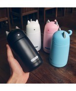 Cat Kitten Ears Pink Blue Black White Thermos Mug Stainless Steel Portab... - $462,41 MXN