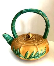 Frog Lid Ceramic Teapot Bamboo Theme Vintage Decorative Tea Pot 8.5 inch... - $46.52