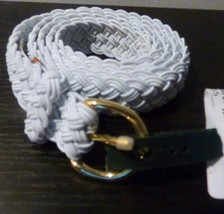$38.00 Lauren Ralph Lauren Woven Stretch Belt, White, L image 1