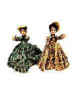 """(2) Vintage Colonial Dolls in Dresses Eyes Open & Close 8"""" inches Tall P... - $23.36"""