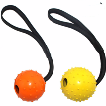 Multiple Color Natural Rubber Dog Toy Ball On A Strap Rope Pet Dog Train... - $32.50