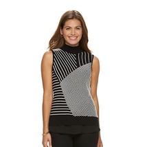 New Dana Buchman Large Sleeveless Sweater Black White Stripe Mockneck Kn... - $17.75
